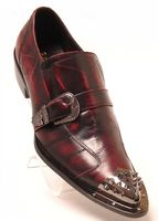 Fiesso Mens Burgundy Marble Pointy Metal Toe Strap Shoes 6829 IS