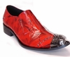 Fiesso Mens Red Metal Spike Toe Slip On Shoes 6844 IS