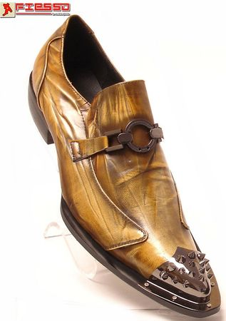 Fiesso Mens Taupe Metal Pointy Toe Slip On Shoes 6825 IS - click to enlarge