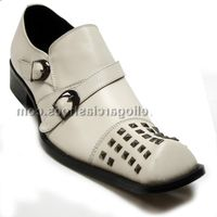 Fiesso Mens White Leather Studded Toe Slip On Shoes 6604 IS