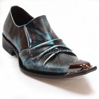 Fiesso Shoes Blue Pleated Leather Pointy Metal Toe 6207 IS