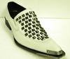 Fiesso Shoes White Leather Rivets 6602 IS