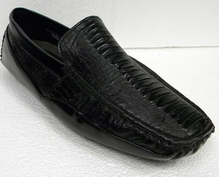 AC Black Ostrich Print Casual Driving Shoes 6513 IS - click to enlarge