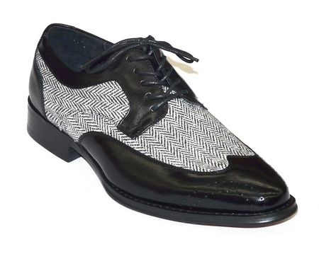 Giovanni Black Leather Tweed Plaid Dress Shoes 6484 IS - click to enlarge