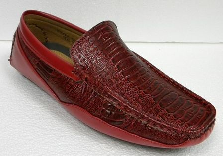 AC Red Ostrich Print Casual Driving Shoes 6513 IS