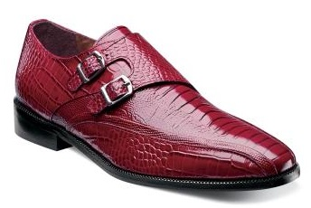 Stacy Adams Shoes Red Ostrich Print Side Buckle Kasimir 24902-600 IS