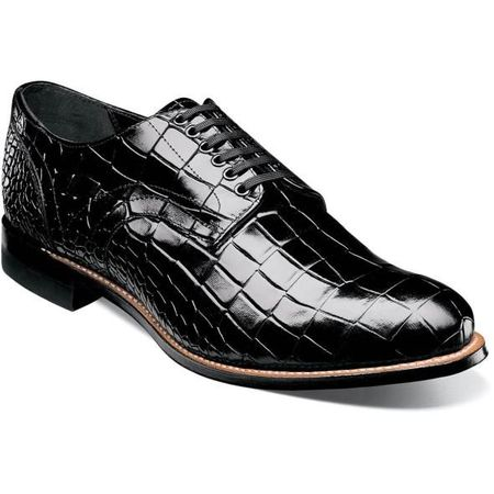 Stacy Adams Madison Shoes Black Crocodile Texture Leather 00104-001 OS