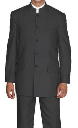 Fortini Mens Black Stripe Mandarin Chinese Style Collar Suit 925H