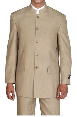 Fortini Mens Tan Stripe Mandarin Chinese Style Collar Suit 925H