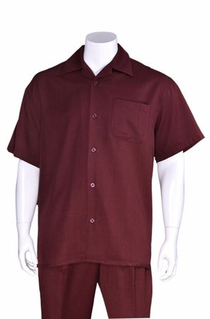 Big Size Men's Walking Suit Burgundy Short Sleeve Outfit Fortino 2954G
