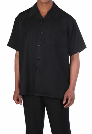 Big Size Men's Walking Suit Black Short Sleeve Outfit Fortino 2954G