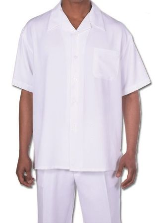 Big Size Men's Walking Suit White Short Sleeve Outfit Fortino 2954G
