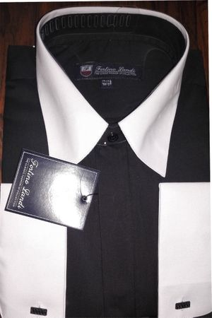 Fortino Men's Riley Collar Two Tone Dress Shirt Black White SG03F2