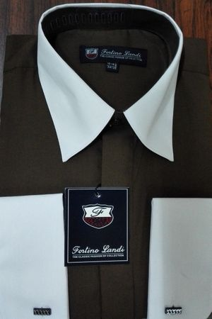 Fortino Men's Riley Collar Two Tone Dress Shirt Brown White SG03F2