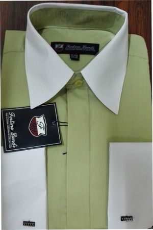 Fortino Men's Riley Collar Two Tone Dress Shirt Green White SG03F2