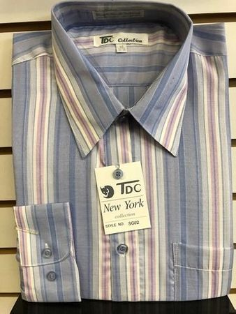 Mens Lilac Multi Color Stripe Dress Shirt by TDC Size 16.5 32/33 Final  - click to enlarge