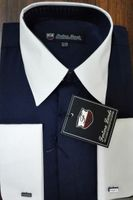 Fortino Men's Riley Collar Two Tone Dress Shirt Navy White SG03F2