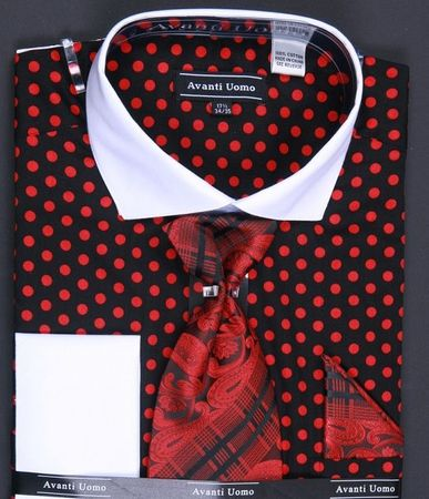 Mens Black With Red Polka Dot Tie and Hanky French Cuff Dress Shirt Size 16.5 36/37 Final Sale - click to enlarge