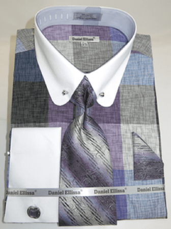 Mens Rounded Collar Dress Shirt Tie Combo Lavender Square DS3791P2-tiles  Size 15.5 33/34 Final Sale - click to enlarge