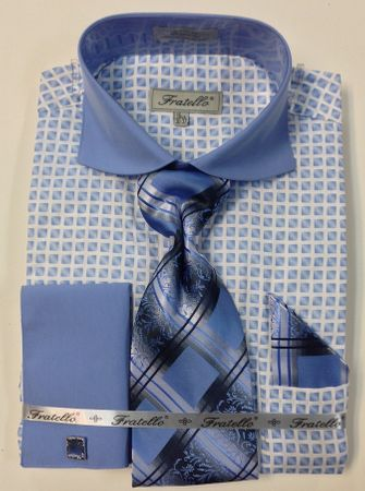 Fratello Blue Spread Collar French Cuff Shirt Tie Set FRV4128P2 - click to enlarge