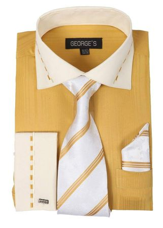 George Gold White Collar Cuff Dress Shirt Tie Set AH621 - click to enlarge
