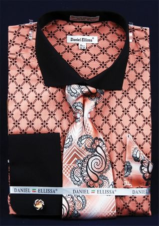 Fratello Coral Chain Spread Collar French Cuff Shirt Tie Combo FRV4126P2 - click to enlarge