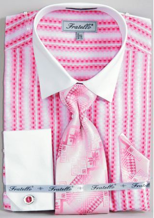 Fratello Fuchsia Jacquard Stripe French Cuff Shirt Tie Set FRV4130P2 - click to enlarge