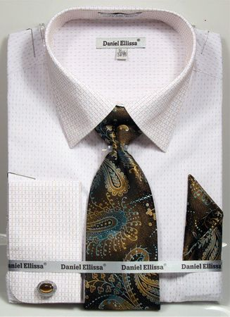 Daniel Ellissa Men's French Cuff Shirt Set - Beige Mini Pattern DS3792P2 - click to enlarge