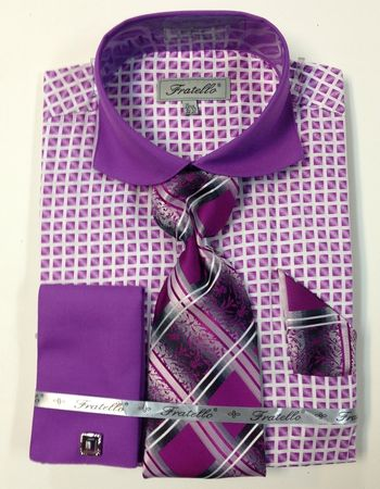 Fratello Lilac Spread Collar French Cuff Shirt Tie Set FRV4128P2 - click to enlarge