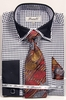 Fratello Men's Black Hounds Tooth French Cuff Tie Hankie Set FRV4136P2