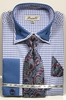 Fratello Men's Blue Hounds Tooth French Cuff Tie Hankie Set FRV4136P2