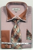Fratello Men's Brown Hounds Tooth French Cuff Tie Hankie Set FRV4136P2