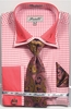 Fratello Men's Coral Hounds Tooth French Cuff Tie Hankie Set FRV4136P2