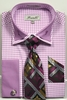 Fratello Men's Lavender Hounds Tooth French Cuff Tie Hankie Set FRV4136P2
