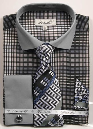 Fratello Mens Black Geo Square French Cuff Dress Shirt Set FRV4137P2 - click to enlarge