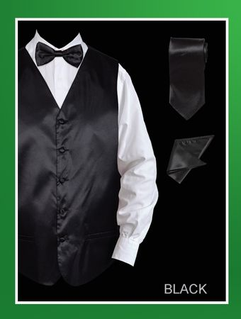 Mens Black Tuxedo Vest Set Prom Satin VS801