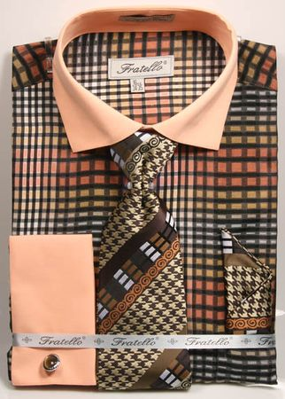 Fratello Mens Brown Geo Square French Cuff Dress Shirt Set FRV4137P2 - click to enlarge