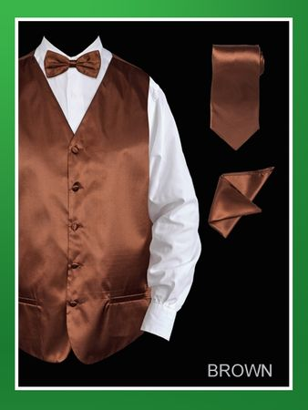 Mens Tuxedo Vest Tie Set Brown Satin VS801