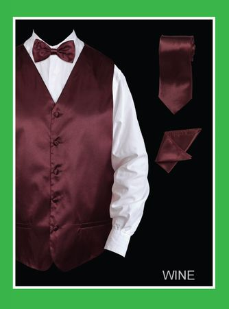 Mens Tuxedo Vest Tie Set Burgundy Satin VS801