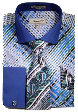 Fratello Mens French Cuff Dress Shirts Tie Set Blue Pattern FRV4134P2 - click to enlarge