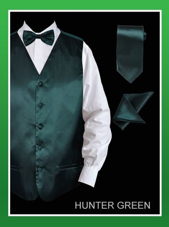 Mens Hunter Green Tuxedo Vest Tie Set Silky Satin VS801