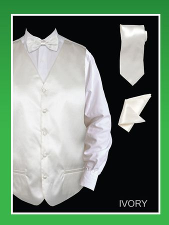 Mens Ivory Tuxedo Vest Tie Set Shiny Satin VS801