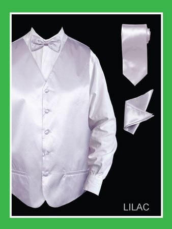 Mens Tuxedo Vest Tie Set Lilac Satin VS801