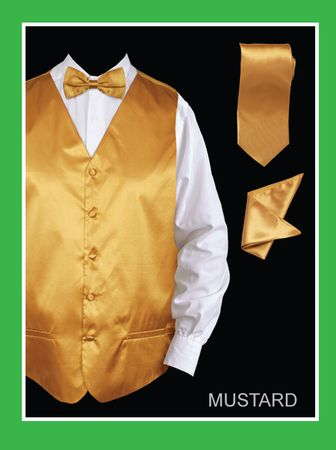 Mens Tuxedo Vest Tie Set Mustard Satin VS801