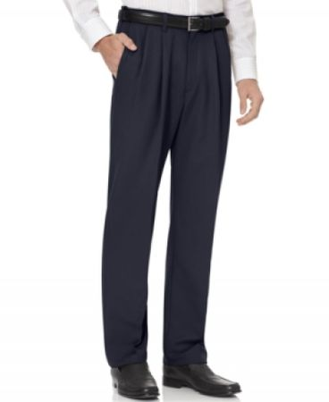 Fratello Mens Navy Blue Pleated Dress Pants DPR-108