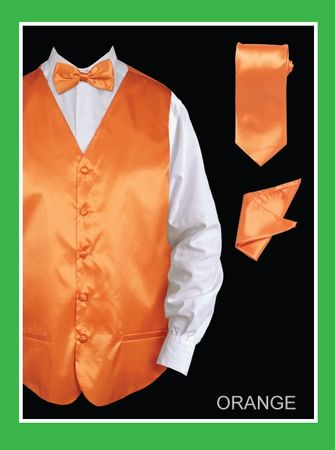 Mens Tuxedo Vest and Bow Tie Orange Satin VS801