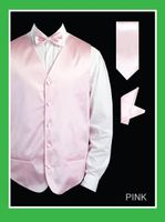 Mens Pink Tuxedo Vest and Bow Tie Set Satin VS801