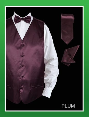 Mens Plum  Color Tuxedo Vest and Bow Tie Satin VS801