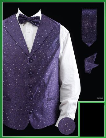Fratello Mens Purple Dot Pattern Satin Vest Tie Set VS808