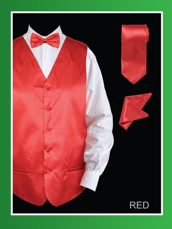 Mens Red Tuxedo Vest Tie Set Shiny Satin VS801
